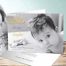 Geburtskarten Design, Willkommen 140 Karten, Horizontale Klappkarte 148x105 inkl. weiße Umschläge, Gelb