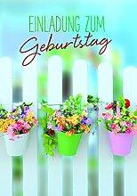 Geburtstag 5er-Set Einladung Gartenzaun 5 Karten 16x11cm