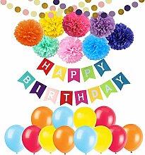 Geburtstag Dekoration, Cocodeko Happy Birthday Wimpelkette Banner Girlande mit 8 Farbe Blumenpuscheln und 20 Große Geperlte Ballons, 2 stück Girlande für Mädchen und Jungen Kindergeburtstag Deko