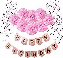 Geburtstag Dekoration, Wartoon Happy Birthday Girlande mit 15 Spiralen Dekoration und 8 Seidenpapier Pompoms für Geburtstag Dekoration, Rosa