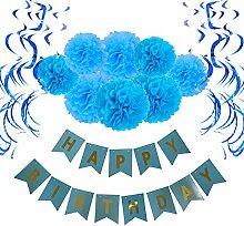 Geburtstag Dekoration, Wartoon Happy Birthday Girlande mit 15 Spiralen Dekoration und 8 Seidenpapier Pompoms für Geburtstag Dekoration, Blau