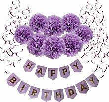 Geburtstag Dekoration, Wartoon Happy Birthday Girlande mit 15 Spiralen Dekoration und 8 Seidenpapier Pompoms für Geburtstag Dekoration, Lila