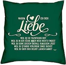 Geburtstag Geschenk Geburtstagsgeschenk Warum ich Dich liebe Kissen, Zierkissen, Dekokissen Sofakissen, Geschenkidee Größe 40X40 cm Farbe:dunkelgrün