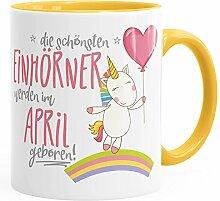 Geburtstags-Tasse die besten Einhörner werden im April geboren MoonWorks® Geschenk-Tasse gelb unisize