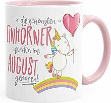 Geburtstags-Tasse die besten Einhörner werden im August geboren MoonWorks® Geschenk-Tasse rosa unisize
