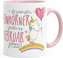 Geburtstags-Tasse die besten Einhörner werden im Februar geboren MoonWorks® Geschenk-Tasse rosa unisize
