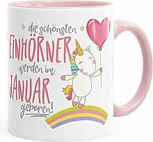 Geburtstags-Tasse die besten Einhörner werden im Januar geboren MoonWorks® Geschenk-Tasse Innenfarbe rosa unisize