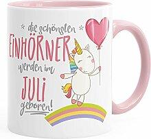 Geburtstags-Tasse die besten Einhörner werden im Juli geboren MoonWorks® Geschenk-Tasse rosa unisize