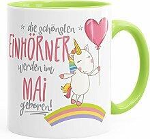 Geburtstags-Tasse die besten Einhörner werden im Mai geboren MoonWorks® Geschenk-Tasse hellgrün unisize