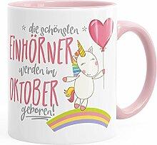 Geburtstags-Tasse die besten Einhörner werden im Oktober geboren MoonWorks® Geschenk-Tasse rosa unisize