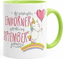 Geburtstags-Tasse die besten Einhörner werden im September geboren MoonWorks® Geschenk-Tasse hellgrün unisize
