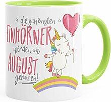Geburtstags-Tasse die schönsten Einhörner werden im August geboren MoonWorks® Geschenk-Tasse hellgrün unisize