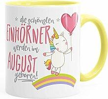 Geburtstags-Tasse die schönsten Einhörner werden im August geboren MoonWorks® Geschenk-Tasse hellgelb unisize