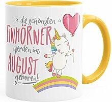 Geburtstags-Tasse die schönsten Einhörner werden im August geboren MoonWorks® Geschenk-Tasse gelb unisize