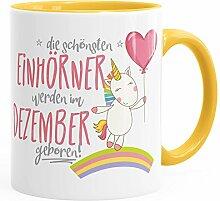 Geburtstags-Tasse die schönsten Einhörner werden im Dezember geboren MoonWorks® Geschenk-Tasse gelb unisize