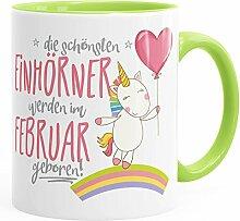 Geburtstags-Tasse die schönsten Einhörner werden im Februar geboren MoonWorks® Geschenk-Tasse hellgrün unisize
