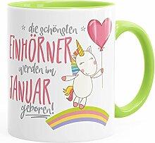 Geburtstags-Tasse die schönsten Einhörner werden im Januar geboren MoonWorks® Geschenk-Tasse Innenfarbe hellgrün unisize
