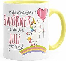 Geburtstags-Tasse die schönsten Einhörner werden im Juli geboren MoonWorks® Geschenk-Tasse hellgelb unisize