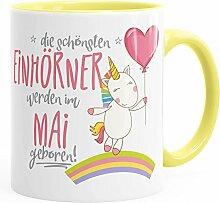 Geburtstags-Tasse die schönsten Einhörner werden im Mai geboren MoonWorks® Geschenk-Tasse hellgelb unisize