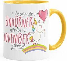 Geburtstags-Tasse die schönsten Einhörner werden im November geboren MoonWorks® Geschenk-Tasse gelb unisize