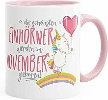 Geburtstags-Tasse die schönsten Einhörner werden im November geboren MoonWorks® Geschenk-Tasse rosa unisize