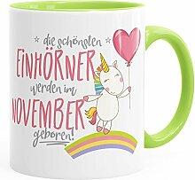 Geburtstags-Tasse die schönsten Einhörner werden im November geboren MoonWorks® Geschenk-Tasse hellgrün unisize