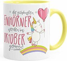 Geburtstags-Tasse die schönsten Einhörner werden im Oktober geboren MoonWorks® Geschenk-Tasse hellgelb unisize