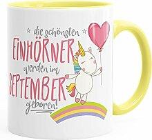 Geburtstags-Tasse die schönsten Einhörner werden im September geboren MoonWorks® Geschenk-Tasse hellgelb unisize