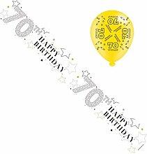 Geburtstagsbanner & Luftballons–Happy 70.
