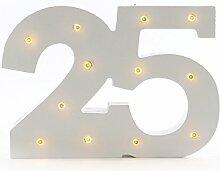 Geburtstagsdeko, Jahrestag, LED Jubiläumszahl 25 | knuellermarkt.de | Holz-Zahl, Geburtstag, Silberhochzeit, Lämpchen, mit Beleuchtung, Batteriebetrieben, beleuchtet, Leuchtzahl