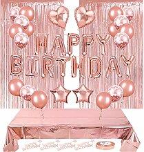Geburtstagsdeko Rosegold Set, Happy Birthday
