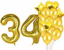 Geburtstagsdekorationen zum 34. Geburtstag,