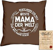 Geburtstagsgeschenk Deko-Kissen Kopf-Kissen Beste Mama der Welt Geschenkidee, Valentinstag Weihnachten, Muttertag Größe 40X40 cm Farbe:braun