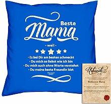 Geburtstagsgeschenk Deko-Kissen Kopf-Kissen Beste Mama weil Geschenkidee, Valentinstag Weihnachten, Muttertag Größe 40X40 cm Farbe:royal-blau
