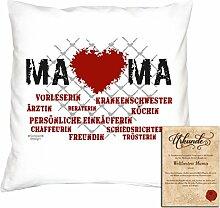 Geburtstagsgeschenk Deko-Kissen Kopf-Kissen Herz Mama Geschenkidee, Valentinstag Weihnachten, Muttertag Größe 40X40 cm Farbe:weiss