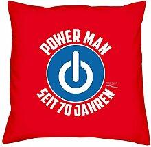 Geburtstagsgeschenk für Männer Geschenk zum 70. Geburtstag Sofa Kissen mit Füllung Kissengröße: 40x40 cm Power Man seit 70 Jahren Farbe: ro