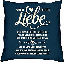 Geburtstagsgeschenk für Sie und Ihn :-: Warum ich Dich liebe :-: Deko-Sofa-Couch-Kissen :-: Geschenkidee Mama Papa :-: Ostergeschenk Größe: 40x40cm Farbe: navy-blau