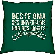 Geburtstagsgeschenk Geschenk Liebe Geschenkidee Beste Oma des Universums Kopfkissen Sofakissen Muttertag Kissen für Frauen Größe 40 X 40 cm Farbe:dunkelgrün