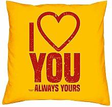 Geburtstagsgeschenk Geschenk Liebe Geschenkidee I love you Kopfkissen Sofakissen Kissen für Frauen Männer Deko Stuhlauflage Farbe:gelb