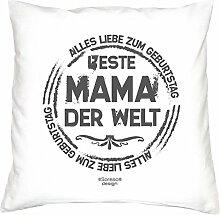 Geburtstagsgeschenk Geschenkidee für Sie Frauen Mutter :-: Beste Mama der Welt :-: Kissen mit Füllung Geschenke für Ihre Mama :-: Farbe: weiß