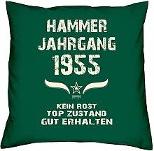 Geburtstagsgeschenk Kopfkissen Sofakissen Hammer Jahrgang 1955 zum 63. Geburtstag Geschenkidee Deko Zierkissen Größe 40 X 40 cm Farbe:dunkelgrün
