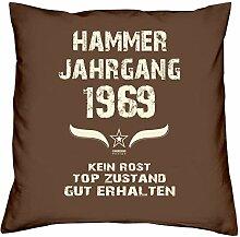 Geburtstagsgeschenk Kopfkissen Sofakissen Hammer Jahrgang 1969 Zum 48. Geburtstag Geschenkidee Deko Zierkissen Größe 40 X 40 cm Farbe:braun