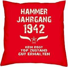 Geburtstagsgeschenk Kopfkissen Sofakissen Hammer Jahrgang 1942 Zum 75. Geburtstag Geschenkidee Deko Zierkissen Größe 40 X 40 cm Farbe:ro