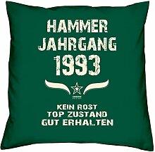 Geburtstagsgeschenk Kopfkissen Sofakissen Hammer Jahrgang 1993 zum 25. Geburtstag Geschenkidee Deko Zierkissen Größe 40 X 40 cm Farbe:dunkelgrün