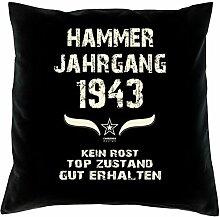 Geburtstagsgeschenk Kopfkissen Sofakissen Hammer Jahrgang 1943 Zum 74. Geburtstag Geschenkidee Deko Zierkissen Größe 40 X 40 cm Farbe:schwarz