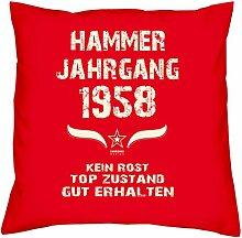 Geburtstagsgeschenk Kopfkissen Sofakissen Hammer Jahrgang 1958 Zum 59. Geburtstag Geschenkidee Deko Zierkissen Größe 40 X 40 cm Farbe:ro