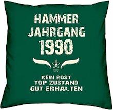 Geburtstagsgeschenk Kopfkissen Sofakissen Hammer Jahrgang 1990 zum 28. Geburtstag Geschenkidee Deko Zierkissen Größe 40 X 40 cm Farbe:dunkelgrün
