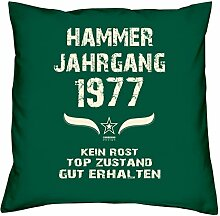 Geburtstagsgeschenk Kopfkissen Sofakissen Hammer Jahrgang 1977 zum 41. Geburtstag Geschenkidee Deko Zierkissen Größe 40 X 40 cm Farbe:dunkelgrün