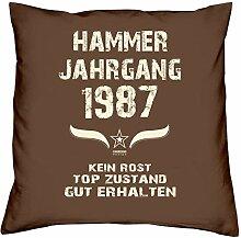 Geburtstagsgeschenk Kopfkissen Sofakissen Hammer Jahrgang 1987 zum 31. Geburtstag Geschenkidee Deko Zierkissen Größe 40 X 40 cm Farbe:braun