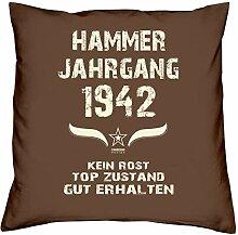 Geburtstagsgeschenk Kopfkissen Sofakissen Hammer Jahrgang 1942 zum 76. Geburtstag Geschenkidee Deko Zierkissen Größe 40 X 40 cm Farbe:braun